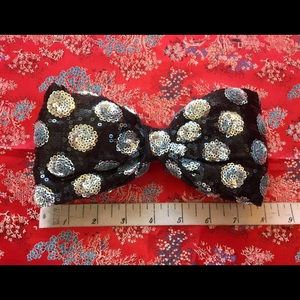 Disney Accessories - SALE!! LARGE Black Sequin Polka Dot Hair Bow Clip
